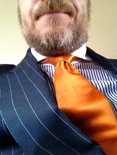Ralph Lauren purple label navy stripped shirt with contrast collar cutaway and RL orange tie with navy pinstripe suit