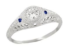 Art Deco Engraved Filigree Diamond Engagement Ring with Side Sapphires - 14K White Gold - 1920s Low Profile Vintage Design
