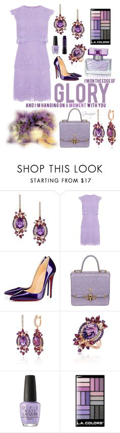 """""""Glory"""" by gemique ❤ liked on Polyvore featuring LE VIAN, Warehouse, Christian Louboutin, Trussardi, OPI, L.A. Colors and MAC Cosmetics"""