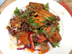Day 4 Lunch: Smoked Tofu Salad with a Chilli marinade and roasted root vegetables #vegan