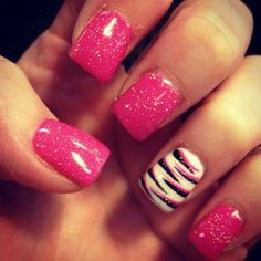 Pink Nails with White Accent with Black and Matched Pink Stripes