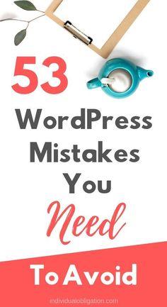 wordpress mistakes to avoid. Wordpress For Beginners, Learn Wordpress, Blogging For Beginners, Wordpress Free, Wordpress Admin, Wordpress Plugins, Wordpress Support, Make Money Blogging, Blog Tips