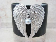 Angel Wings Cuff  Black Leather Bracelet  Pewter by ArmedWithStyle,