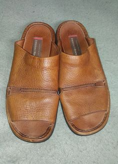 5e039c529 Johnston and Murphy Size 12M Mens Brown Leather Slides Sandals Shoes  Portugal