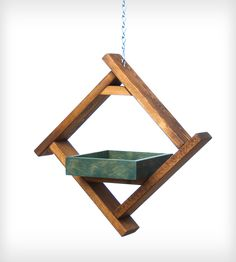 Blue Wood Tray Bird Feeder