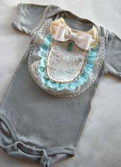 Baby girl onesie with vintage trim and vintage buttons