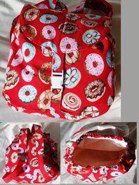 Custom Baby Shoe - Handmade Toddler Back Pack - Red Doughnuts