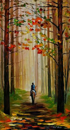 Autumn Stroll on a Horse PALETTE KNIFE Oil by AfremovArtStudio
