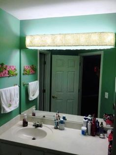 Bathroom vanity light diy makeover i built a thin wood box to custom lampshades light covers fabric bathroom vanity lighting about us aloadofball Choice Image