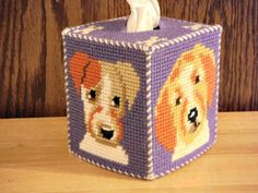 Dog Tissue Box Cover Plastic Canvas Needlepoint by ShanaysCreation