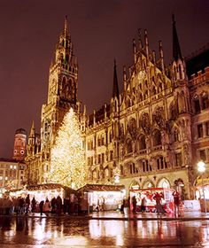 Best Places to Spend Christmas: Munich. You'll see a 100' fall Christmas tree, two dozen Christmas markets, and go on a tram ride being served mulled wine and gingerbread. Don't miss the evening holiday music on the balcony of town hall.