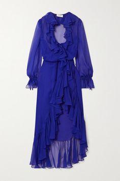 Saint Laurent Dress, Saint Laurent Boots, Silk Chiffon, Chiffon Dress, Blue Midi Dress, Dress Up, Dress First, Beautiful Dresses, Designer Dresses