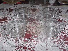 VINTAGE ITALIAN GLASS VITA COFFEE SET 1960'S 1970'S 8 PIECE CUPS & SAUCERS