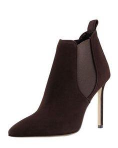 7632c463290 Tungade Pointy Suede Ankle Boot, Dark Brown by Manolo Blahnik at Bergdorf  Goodman. #