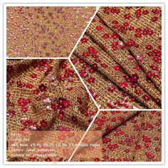 'Jakob Schlaepfer Chanel Fabric'    This luxurious textured fabric is woven from wool threads in golden brown, white, black and burgundy. It features a Chanel style design and is embellished with tiny sparkling sequins which, together with metallic threads, lend a nice sheen to the surface. The fabric is strewn with cherry red flowers, finished with golden detailing for extra sparkle Chanel Style, Chanel Fashion, Wool Thread, Metallic Thread, Couture, Cherry Red, Golden Brown, Exclusive Collection, Hologram