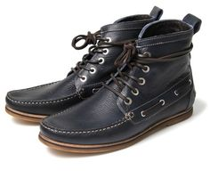 Hudson - mesquite navy high-top boat shoes