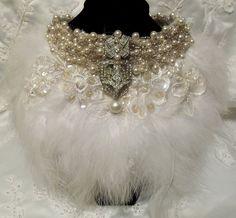 Feather Bridal Necklace Haute Couture Wedding by HopscotchCouture, $277.00