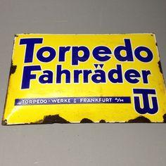 Rarität original altes antikes seltenes Emailschild, Torpedo Fahrräder Frankfurt | eBay
