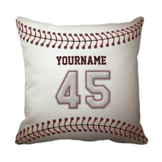 Shop Player Number 34 - Cool Baseball Stitches Throw Pillow created by SportsPlaza.
