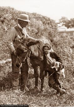 A man and boy with a donkey and a puppy in Whitby, North Yorkshire, circa Get premium, high resolution news photos at Getty Images Vintage Photographs, Vintage Photos, Great Photos, Old Photos, Vintage Farm, Foto Vintage, Vintage Men, Whitby Abbey, Batman Poster
