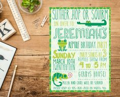 Reptile birthday party invitation by Opheliafpg on Etsy Reptile Show, Reptile Party, Bridal Shower Invitations, Birthday Party Invitations, Birthday Parties, Birthday Ideas, Gold Bridal Showers, Reptiles, Lizards