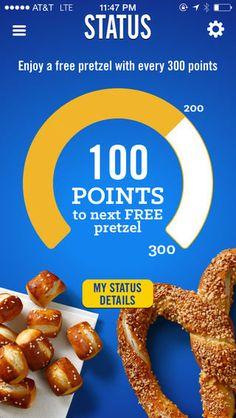 """mobile loyalty app"" - Auntie Ann's 'My Pretzel Perks' app is a new mobile loyalty app that will help pretzel fans enjoy more of what they love. Email Marketing Design, Email Design, App Design, Marketing Ideas, Auntie Annes Pretzels, Loyalty Marketing, Restaurant App, Loyalty Rewards, Wicked Good"