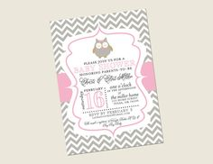 Hey, I found this really awesome Etsy listing at https://www.etsy.com/listing/130780887/chevron-owl-baby-shower-invitation-girl