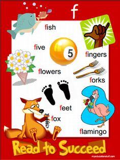 FREE Printable Letter f beginning sound phonics poster.