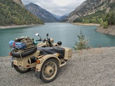 motorcycle & sidecar, by a mountain lake by emptybits, via Flickr
