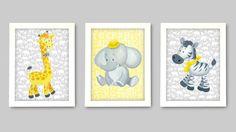 Grey and Yellow Art for nursery walls, Giraffe, Zebra and Elephant