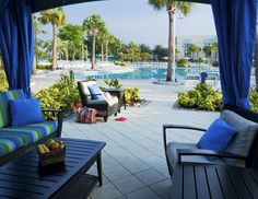 A peaceful cabana by the pool in the West Village at Holiday Inn Club Vacations at Orange Lake Resort.