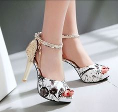 Women's Open Toe Tassels Sequins Stilettos Platform High Heels Shoes Sandals