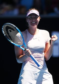 Maria Sharapova Photos - Maria Sharapova of Russia celebrates winning  her first round match against Tatjana Maria of Germany on day two of the 2018 Australian Open at Melbourne Park on January 16, 2018 in Melbourne, Australia. - 2018 Australian Open - Day 2