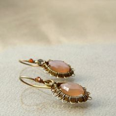 Earrings Peach moon in lace; moonstone, brass; wire-wrapping, patina; designed and made by Nady.cz