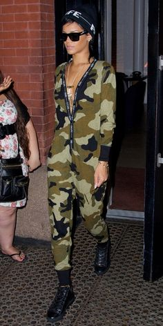 Rihanna spotted in NY in #rihannaforriverisland camo all-in-one & black #G4LIFE beanie. Available in selected store and online at riverisland.com. #riverisland