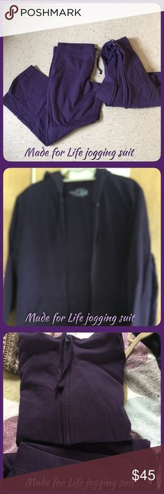 Made for Life sweat suit Made for Life sweat suit, never used without tags, purple was too big for me! Purchase at JC penny, each piece was $39 Made for Life Pants Track Pants & Joggers