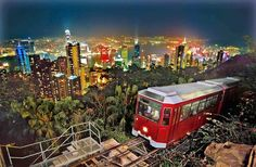 """The Peak Tram has been taking visitors up to 1,800-foot Victoria Peak in Hong Kong for 120 years. It was featured in the 1955 film """"Soldier of Fortune."""" (Hong Kong Tourism Board, Hong Kong Tourism Board"""