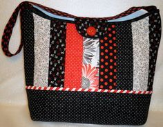 from Missy B Stitchin.com/item_64/Calypso-Tote.htm  I love this bag. It's large enough to hold a laptop or table type device. It is featured on Fons & Porter Love of Quilting 2100 series of shows. Show #2112.