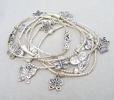 Lagenlook Jewellery Stunning Silver Metal Butterfly Charm Stretch Bracelet