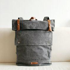 Vogue gris cuir toile sac à dos sac à dos avec par SoBag1989