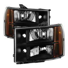 GMC 07-13 Sierra 1500 2500 3500 Black Housing Replacement Headlights Pair Set