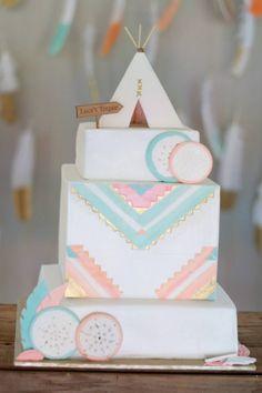 Pretty Pow Wow ~ pastel tribal cake