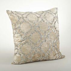Velvet/Sequined 20-inch Throw Pillow