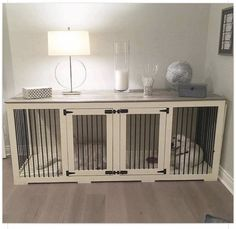 Here we have fabulous DIY dog crate ideas. So these are the ways to mixture a dog crate into your living room decoration and keep your energetic puppy off Wood Block Flooring, Dog Cages, Dog Rooms, My New Room, Home Projects, Diy Furniture, Dog Crate Furniture, Furniture Dog Kennel, Homemade Furniture