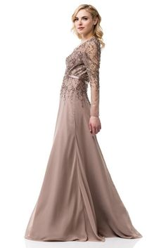 e4d600f9fc Floor Length Lon Sleeves V Neck A-Line Mother of the Bride Groom Dress  Evening Gown