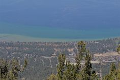 beatiful contrasting colours of South Lake Tahoe. photographed from the top of Heavenly Mountain.