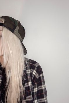 flannel and camo snapback.