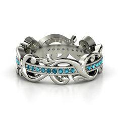 Platinum Ring with London Blue Topaz - Atlantis Eternity Band   Gemvara