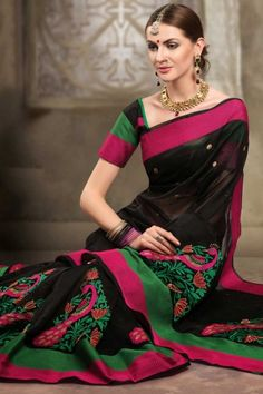 Black Cotton and Supernet Embroidered Festival Saree Sku Code:392-5529SA872731 US $ 62.00 http://www.sareez.com/product_info.php?products_id=170679