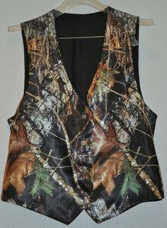 Man's satin Camo Wedding Vest